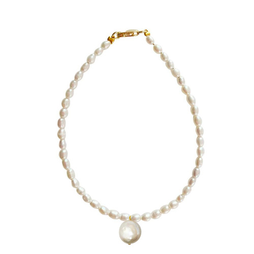 Dainty Pearl Bracelet with Coin Pearl Charm