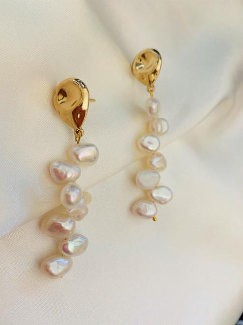 baroque pearl long drop earrings