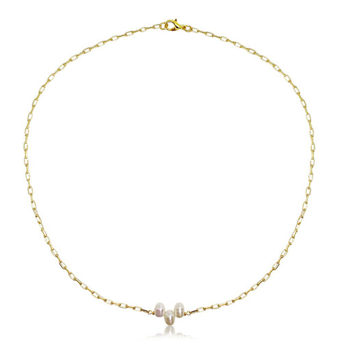 3 Cluster Pearl Gold Elongated Link Chain Choker Necklace