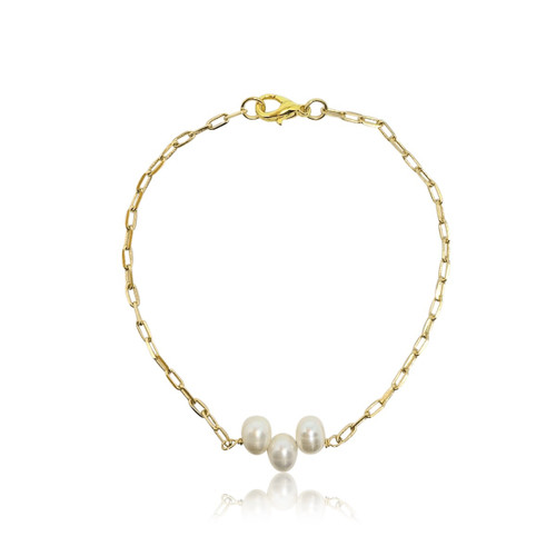 Minimalist pearl elongated link chain choker necklace, a must have for the season.   Gold plated chain, 40cm