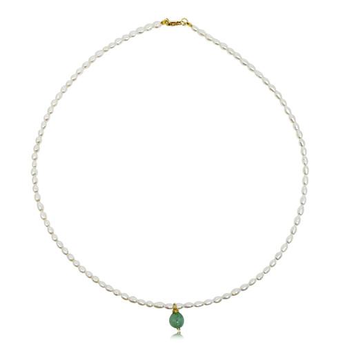 Pearl Choker with Jade Bead Pendant