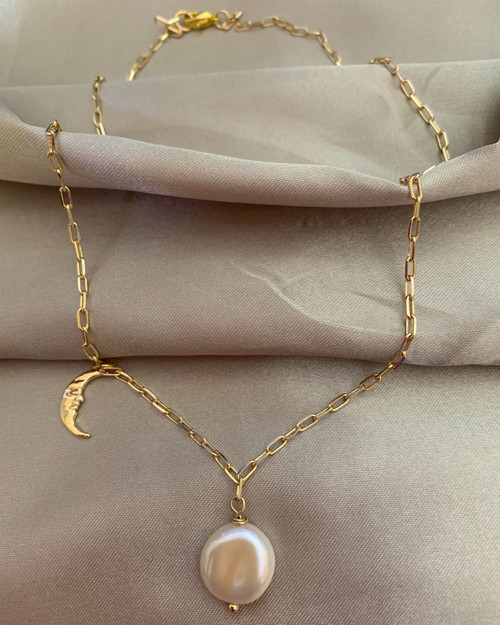 Sun and Moon Pendant Gold Link Elongated Chain Necklace
