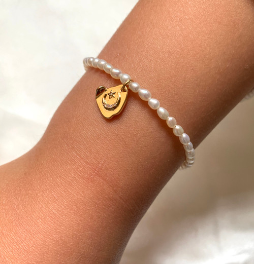 Pearl Bracelet with Celestial Charm