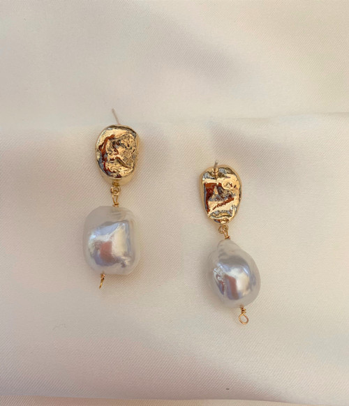 Stella - Large Baroque Pearl Gold Drop Earrings