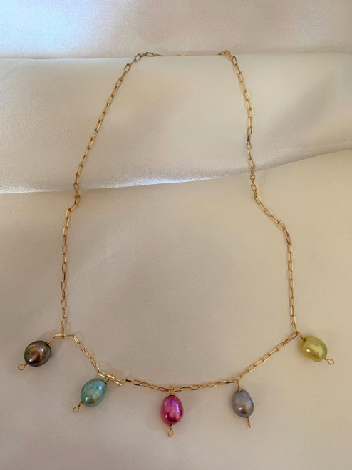 Rainbow Baroque Pearl Pendant Gold Chain Necklace