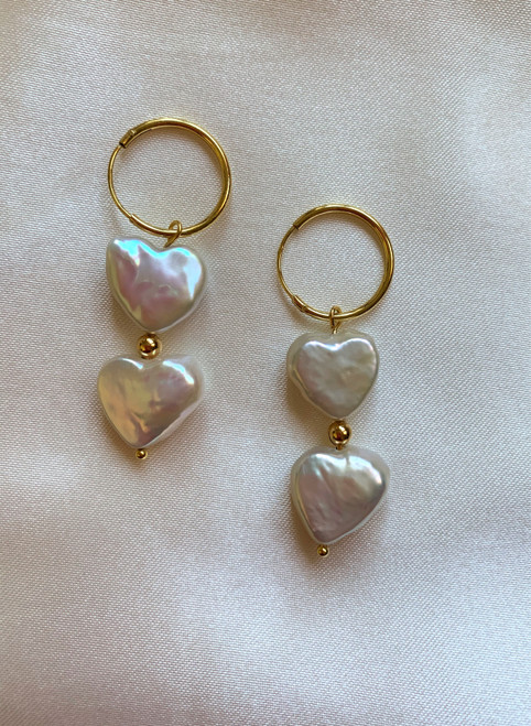 Double Heart Pearl Gold Huggie Hoops Drop Earrings