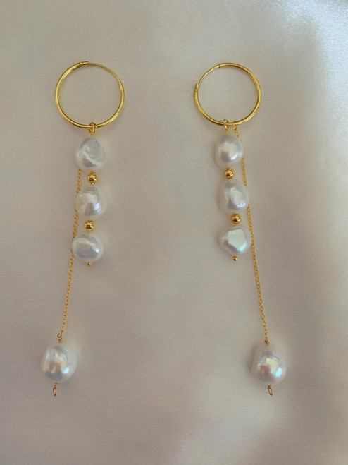 Baroque Pearl Dangle Pearl Gold Hoop Drop Earrings