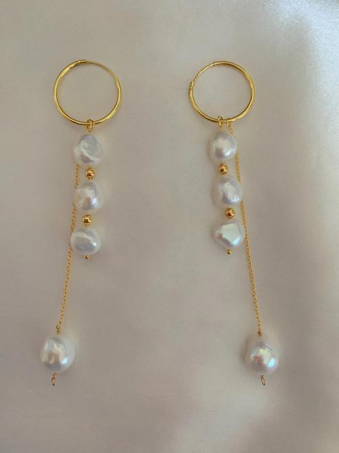 Baroque Pearl Dangle Pearl Gold Hoop Drop Earrings