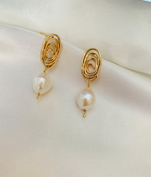 Baroque Pearl Swirl Gold Drop Earrings