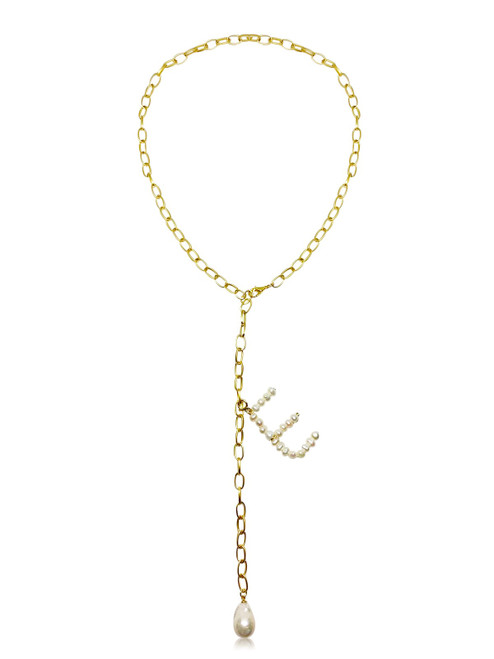 Initial Pearl Pendant and Baroque Pearl Y Shape Lariat