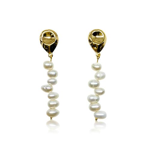 Amelia - Oval Pearl Long Drop Earrings