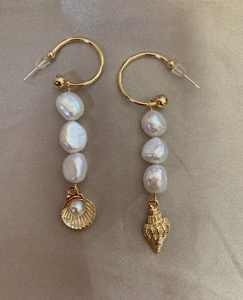 Mismatched Baroque Pearl and Gold Shell Hoops Earrings