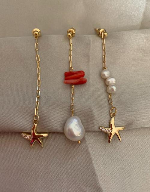 Mismatched Triple Sea Treasure Drop Earrings