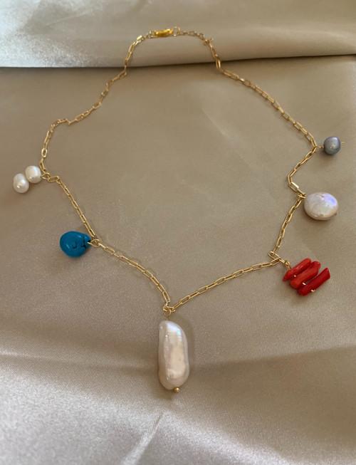 Sea Treasure Charm Chain Choker Necklace
