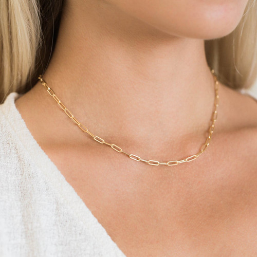 Small Rectangle Chain Choker Necklace