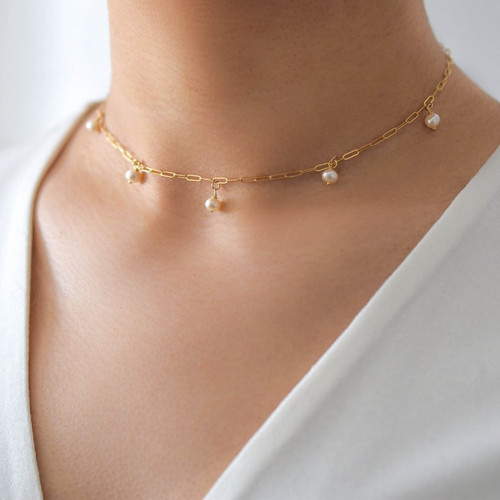 Dainty Pearl Rectangle Chain Choker Necklace