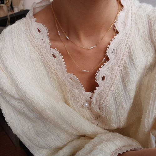 Elle Dainty Pearl Chain Choker Necklace