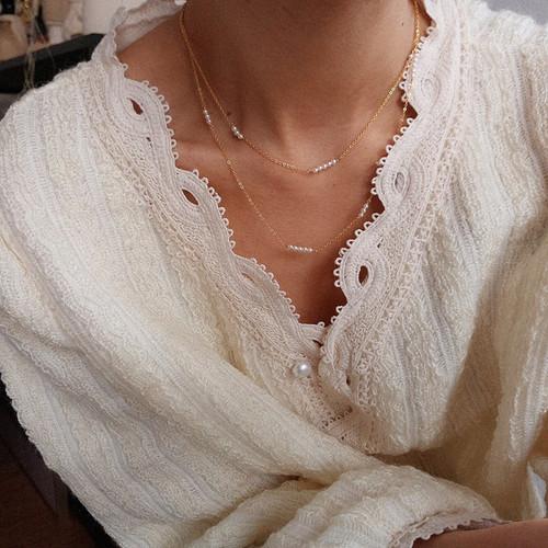 Elle Dainty Pearl Chain Choker Necklace