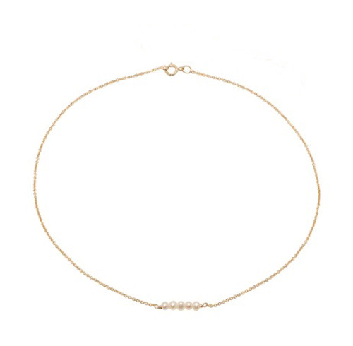 5 Dainty Pearl Chain Choker Necklace