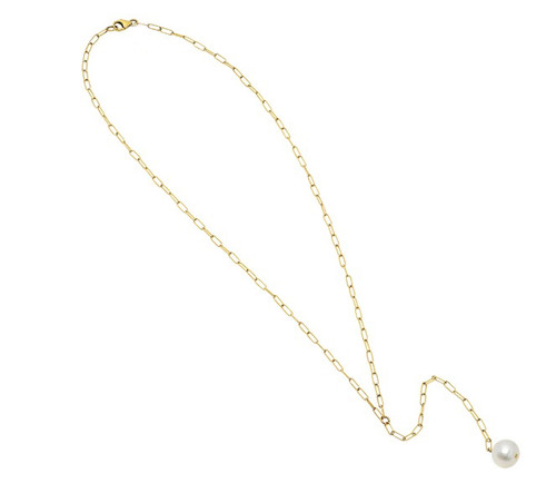 Quinn Rectangle Link Chain Pearl Lariat