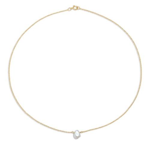 Single Keshi Pearl Chain Choker Necklace
