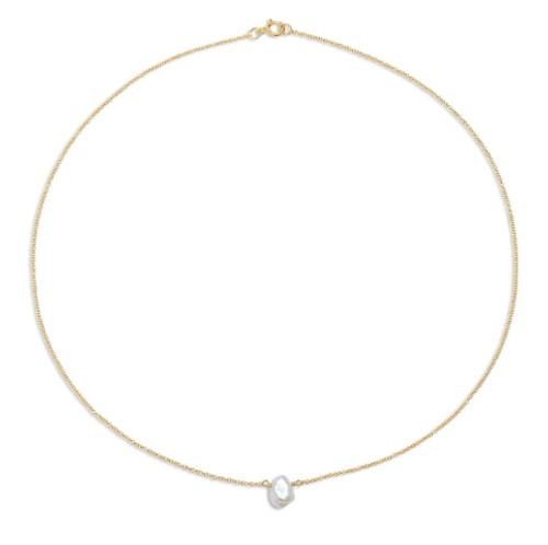 Single Keshi Pearl Chain Choker Necklace