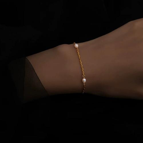 Finley Dainty Pearl Gold Chain Bracelet