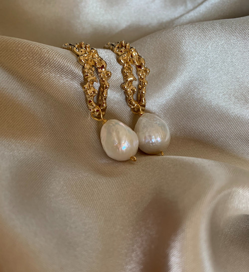 Lucia Large Baroque Pearl Patterned Hoops Earrings