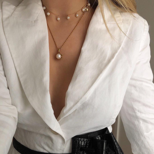 Madison Pearl Droplet Gold Chain Necklace