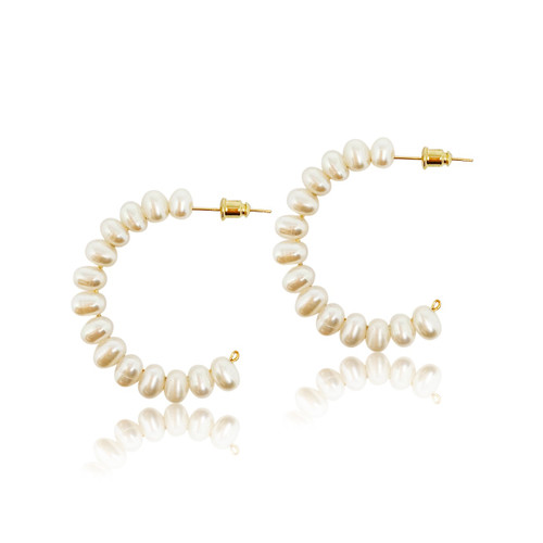Charlotte Oval Pearl Large Open C Shape Hoops