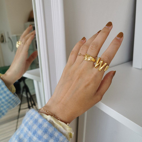 Chunky Gold Initials Open Ring