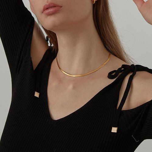 Gold Flat Snake Chain Choker Necklace