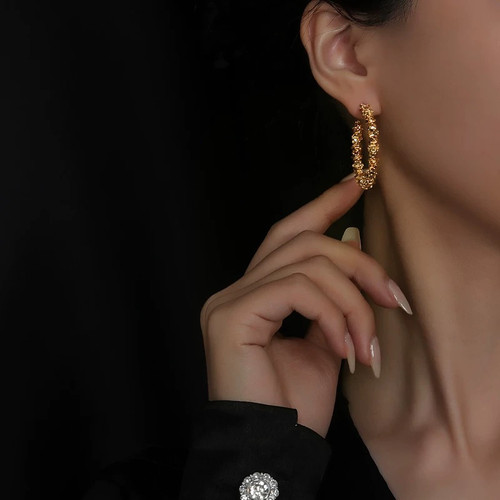 Gold Chip Open Hoops Earrings