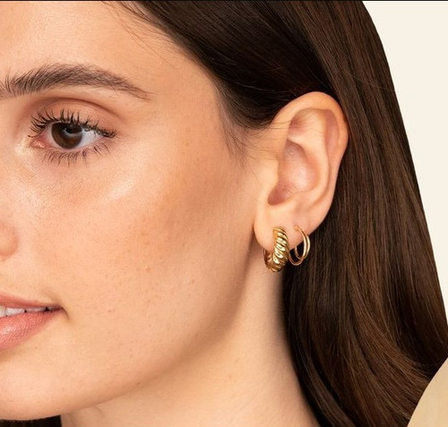 Gold Small Croissant Huggie Hoops