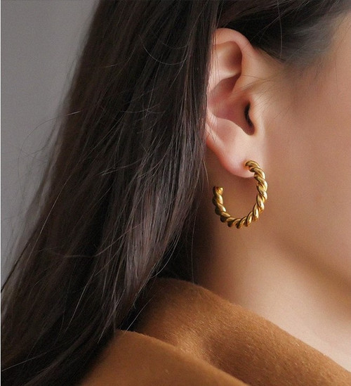 Large Twisted Gold Hoops