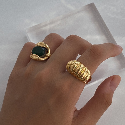 Chunky Patterned Gold Adjustable Ring