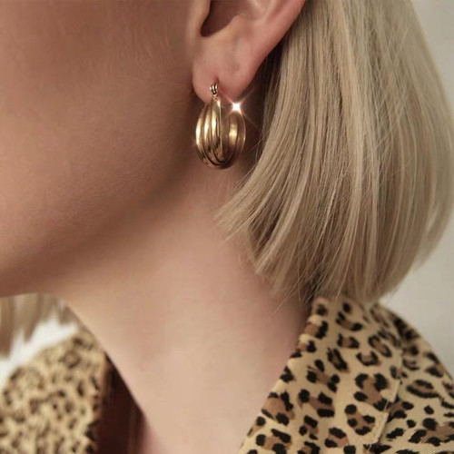 Patterned Medium Gold Hoops