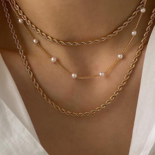 Interwoven Gold Chain Choker Necklace