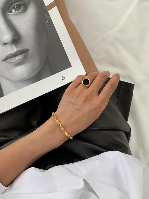Interwoven Gold Chain Bracelet