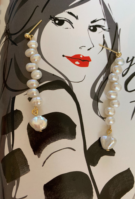 Ana Oval & Keshi Pearl Drop Earrings