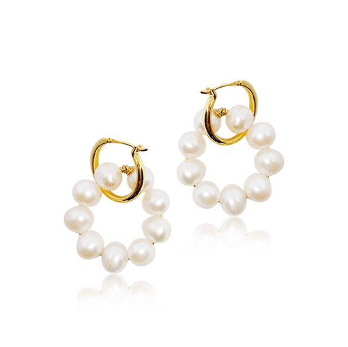 Elise Pearl Gold Hoops Earrings