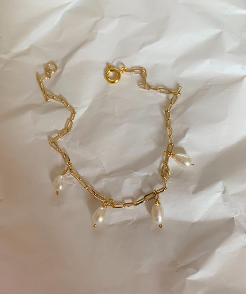 Alina Pearl Droplet Rectangle Chain Bracelet