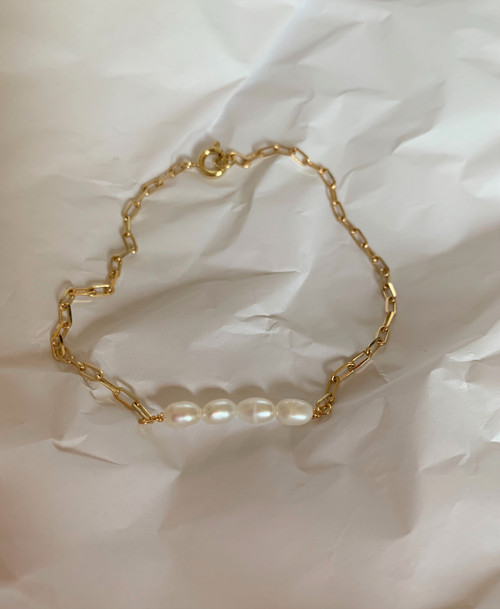 Callie Dainty Pearl Bar Rectangle Chain Bracelet