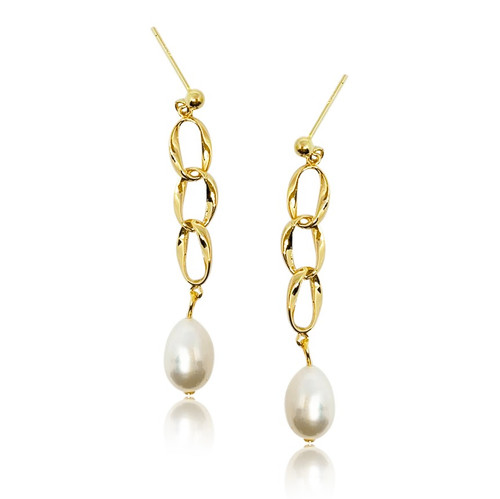 Kate Gold Link Pearl Earrings