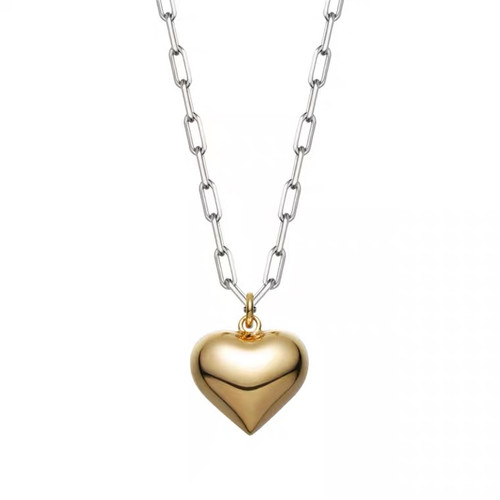 Two Toned Gold Heart Pendant Chain Necklace