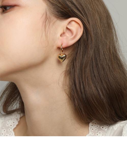 Puffed Heart Gold Huggie Hoops Earrings
