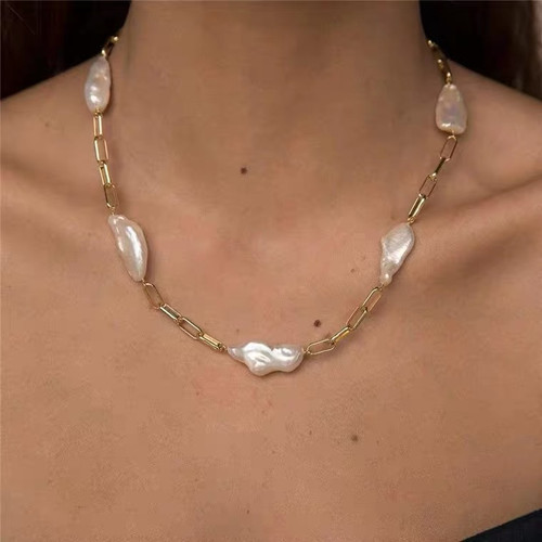 Remi Long  Baroque Pearl and Chain Necklace