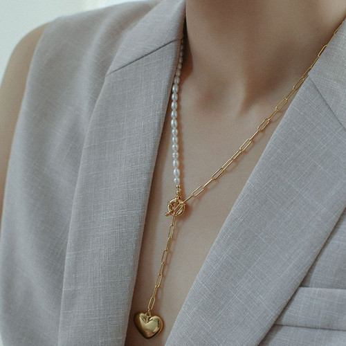 Jenna Pearl and Paperclip link Chain Necklace with Heart Pendant