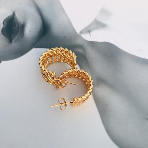 Gold Woven Open C Shape Open Hoops