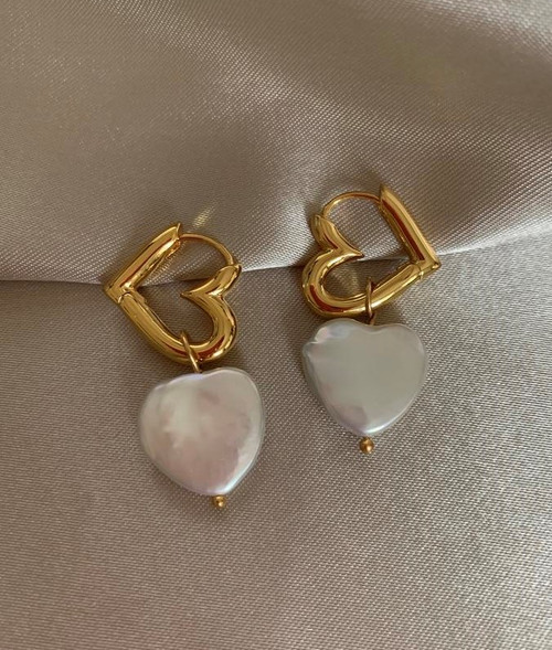 Double Heart Gold Hoops